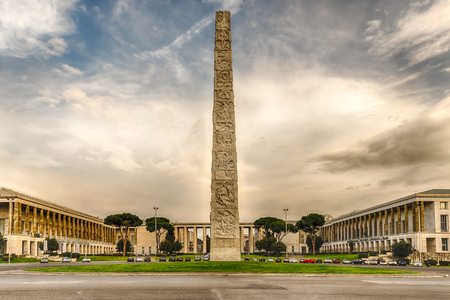 obelisco: The Marconi obelisk, iconic landmark in the EUR district, Rome, Italy