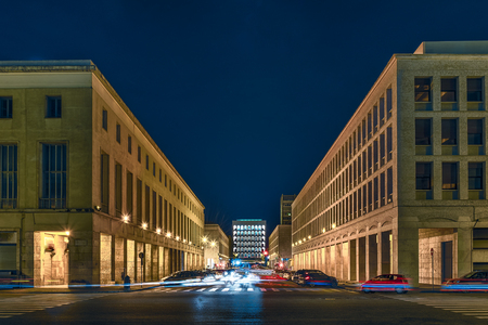 Scenic neoclassical architecture in the EUR district at night. Rome, Italy