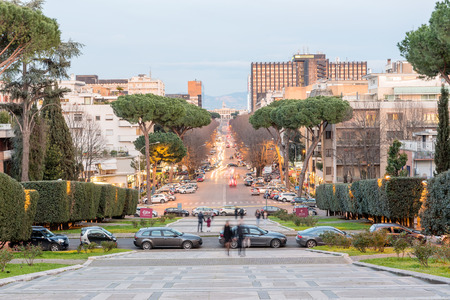 View over Viale Europa, a scenic shopping street in the EUR district in Rome Stock Photo