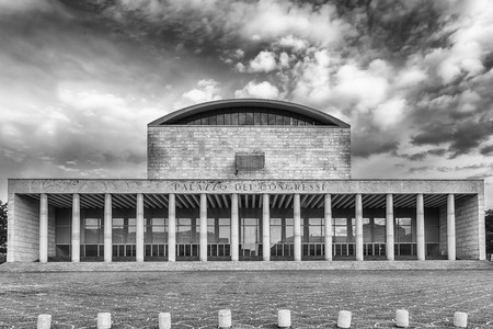 The scenic Palazzo dei Congressi (Palace of Congress) in the Eur District, Rome, Italy