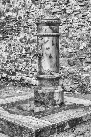 spqr: Big Nose fountain, a traditional free water public fountain in Rome, Italy