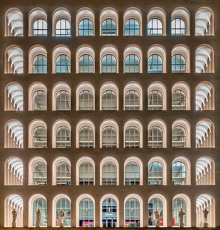 ROME - MARCH 12: The Palazzo della Civilta Italiana, aka Square Colosseum, in Rome, March 12, 2016. The monument lies in the EUR financial district in Rome