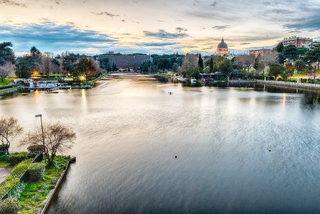 Scenic view over the artificial lake in the EUR district, Rome, Italy
