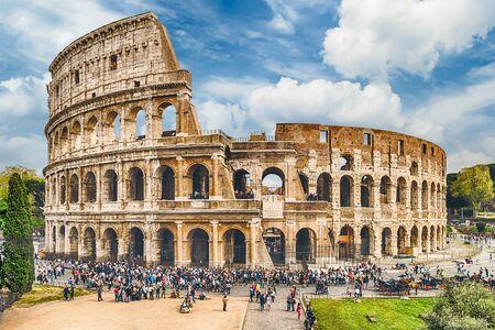 amphitheatre: Aerial view over the Flavian Amphitheatre, aka Colosseum in Rome, Italy