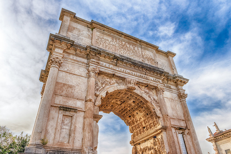 sacra: The iconic Arch of Titus on the Via Sacra in the Roman Forum, Rome, Italy Stock Photo