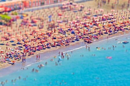 sorrento: Beach in Sorrento Peninsula, Mediterranean Sea,  Italy. Tilt-shift effect applied Editorial