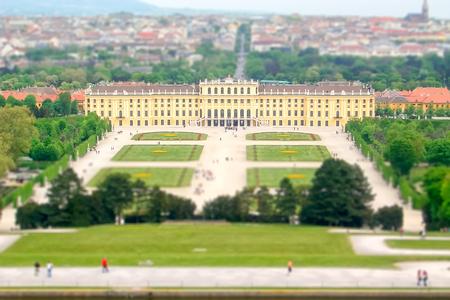 schloss schoenbrunn: Panoramic aerial view of Schonbrunn Palace and Gardens in Vienna, Austria. Tilt-shift effect applied