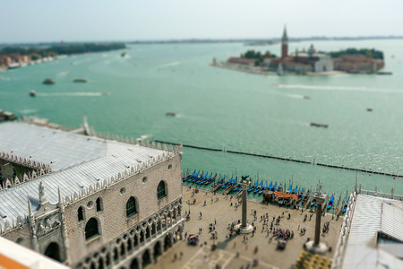 st  mark's square: View over the lagoon, from St. Marks square in Venice, Italy. Tilt-shift effect applied Editorial
