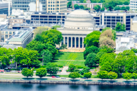 Boston Massachusetts Institute of Technology campus with trees and lawn aerial view with Charles River. Tilt-shift effect applied Stock fotó - 56071295
