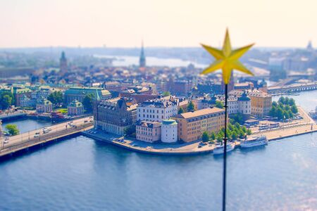 stan: Aerial view of Gamla Stan, Stockholm, Sweden. Tilt-shift effect applied Stock Photo