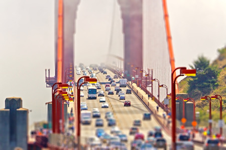 transamerica: Traffic on the Golden Gate Bridge in San Francisco, USA. Tilt-shift effect applied