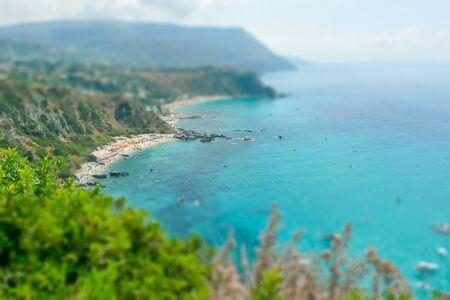 tyrrhenian: Aerial View of the Coastline at Capo Vaticano on the Tyrrhenian Sea, Italy. Tilt-shift effect applied