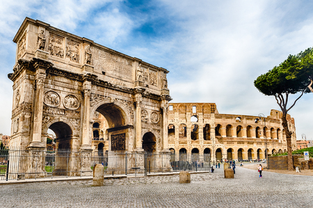 constantine: Arch of Constantine and The Colosseum at the Roman Forum in Rome, Italy Editorial