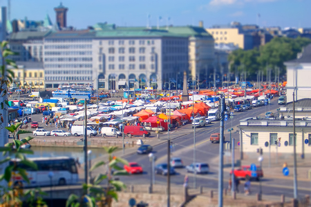 Aerial View of the Market Square (Kauppatori), Helsinki. Tilt-shift effect applied Editorial