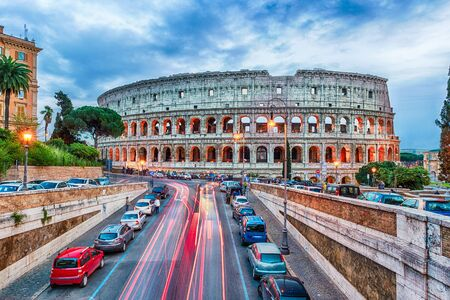 amphitheatre: Aerial view over the Flavian Amphitheatre, aka Colosseum in Rome, Italy. Long exposure at dusk Editorial