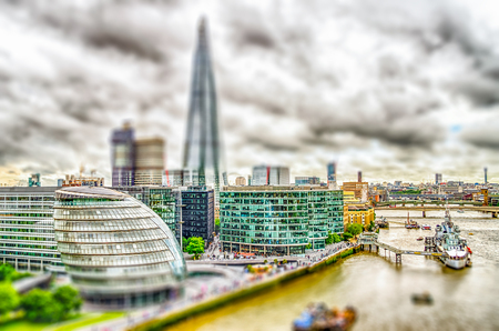 willis: Aerial View of South Bank over the Thames River, London, UK. Tilt-shift effect applied