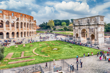 constantine: Aerial view of the Colosseum and Arch of Constantine, Rome, Italy Editorial