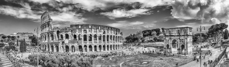 constantine: Panoramic aerial view of the Colosseum and Arch of Constantine, Rome, Italy