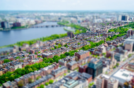 back bay: Aerial View of the Back Bay district and Charles River, Boston, USA. Tilt-shift effect applied