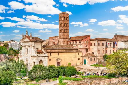 romana: Exteriors of the Church of Santa Francesca Romana in Roman Forum, Rome, Italy Stock Photo