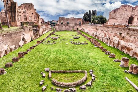 Ruïnes van het Stadion van Domitian, Palatine-Heuvel in Rome, Italië Stockfoto