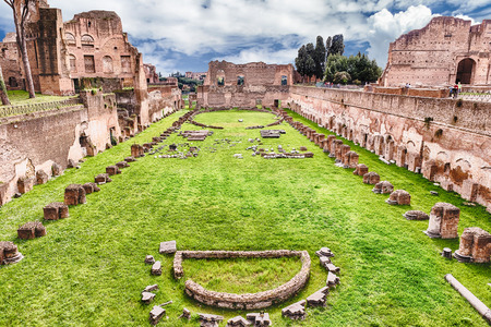 Ruins of the Stadium of Domitian, Palatine Hill in Rome, Italy Фото со стока