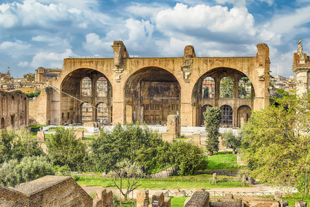 constantine: Basilica of Maxentius and Constantine, ruins in the Roman Forum in Rome, Italy Stock Photo