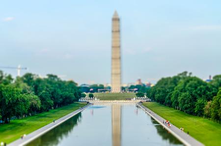 reflecting: Washington Monument and Reflecting Pool, Washington DC, USA. Tilt-shift effect applied Stock Photo