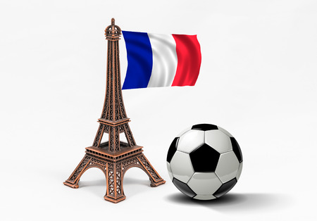 french model: Bronze Eiffel Tower model with french flag and soccer ball, isolated on white background. Concept for football championship