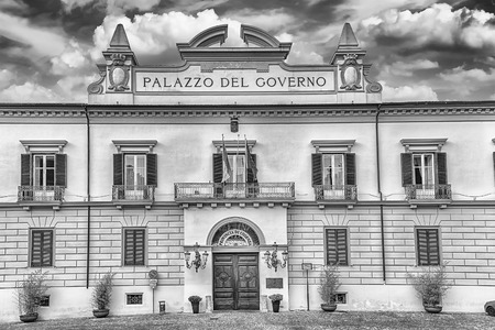 neoclassic: The neoclassic facade of Palazzo del Governo, in the old city of Cosenza, Italy