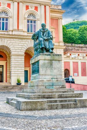 Bernardino: The iconic statue of Bernardino Telesio, Italian philosopher and natural scientist. Old town of Cosenza, Italy