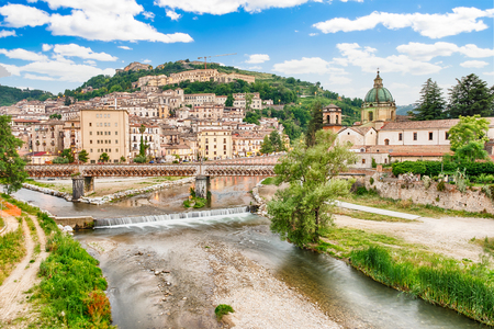 Scenic aerial view of the Old Town with the Crathis River and historic buildings in Cosenza, Calabria, Italy