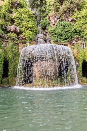 The Oval Fountain, iconic landmark in Villa dEste, Tivoli, Italy