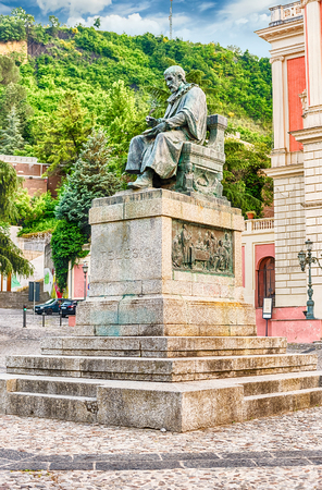 The iconic statue of Bernardino Telesio, Italian philosopher and natural scientist. Old town of Cosenza, Italy