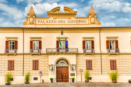 The neoclassic facade of Palazzo del Governo, in the old city of Cosenza, Italy