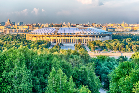 Aerial view of Luzhniki Stadium and complex from Sparrow Hills, Moscow, Russia Stock Photo