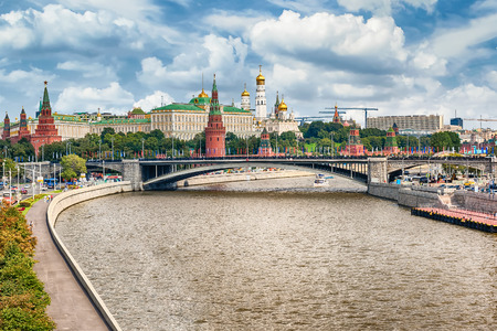 moskva river: Scenic aerial view over Moskva River and the Kremlin, in central Moscow, Russia Editorial