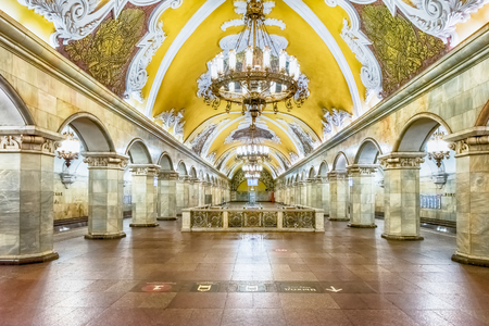 MOSCOW - AUGUST 22, 2016: Komsomolskaya subway station in Moscow, Russia. The station is on the Koltsevaya Line of the Moscow Metro and opened in 1952 Фото со стока - 64954133