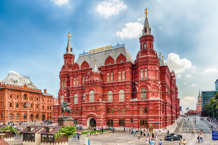 MOSCOW - AUGUST 22, 2016: The State Historical Museum and Marshal Zhukov statue, one of the main citysights and landmarks in central Moscow, Russia Editorial