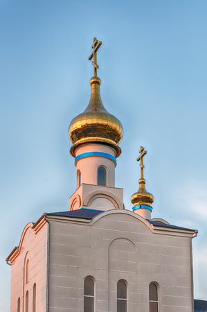 Traditional orthodox church in Frunze, small village in the Saky Region of Crimea Stock Photo