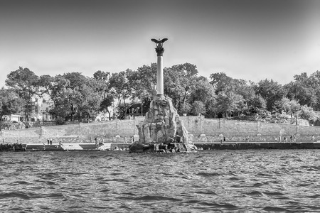 sunken: Sunken ships memorial, iconic monument and landmark in Sevastopol, Crimea Stock Photo