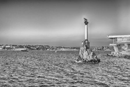 sunken: Sunken ships memorial, iconic monument and landmark in Sevastopol, Crimea Editorial