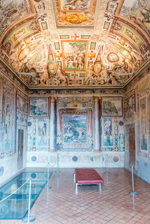 listed: TIVOLI, ITALY - JUNE 25, 2016 - Interiors of Villa DEste in Tivoli, near Rome, Italy. Listed as UNESCO world heritage site, its famous for its terraced Renaissance garden and for its many fountains Editorial