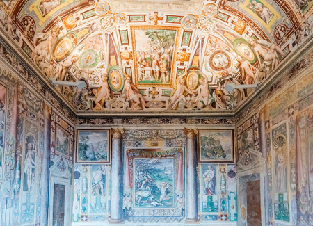 TIVOLI, ITALY - JUNE 25, 2016 - Interiors of Villa DEste in Tivoli, near Rome, Italy. Listed as UNESCO world heritage site, its famous for its terraced Renaissance garden and for its many fountains Editorial