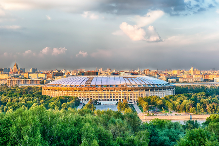 Aerial view of Luzhniki Stadium and complex from Sparrow Hills, Moscow, Russia Imagens