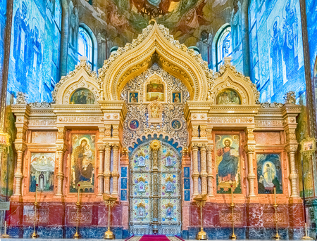 savior: Interior of the Church of the Savior on Spilled Blood in St. Petersburg, Russia