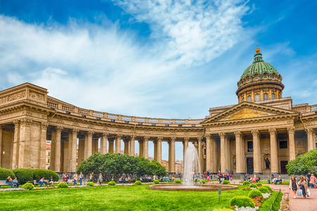 modelled: ST. PETERSBURG, RUSSIA - AUGUST 26: Kazan Cathedral in St.Petersburg, Russia, on August 26, 2016. It was modelled by Andrey Voronikhin after the St. Peters Basilica in Rome Editorial