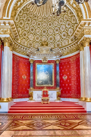 peter the great: ST. PETERSBURG, RUSSIA - AUGUST 27: Small Throne Hall, interior of the State Hermitage (Winter Palace) in St. Petersburg, Russia, August 27, 2016. Hermitage is one of the largest and oldest museums of art and culture in the world Editorial