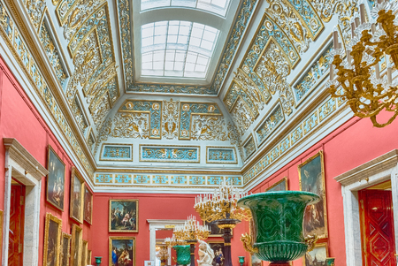 ST. PETERSBURG, RUSSIA - AUGUST 27: Interior of the State Hermitage (Winter Palace) in St. Petersburg, Russia, August 27, 2016. Hermitage is one of the largest and oldest museums of art and culture in the world Editorial