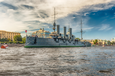 battleship: ST. PETERSBURG, RUSSIA - AUGUST 27: View of the Russian cruiser Aurora, currently preserved as a museum ship, moored on the Neva River in St. Petersburg, Russia, August 27, 2016. Editorial